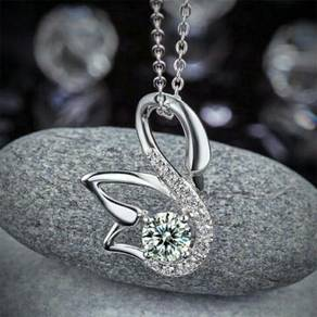 š�Swan Pendant Necklace S925 Created Diamond⚘