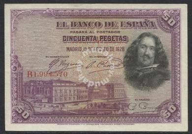 Spain 1928 50 pesetas xf