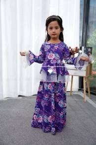 COOLELVES Flower Peplum Kurung Dress-PURPLE