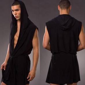 UM510-1 Black Bathrobe Lingerie Men's Underwear L