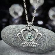 Crown Pendant Necklace Solid S925 Created Diamond