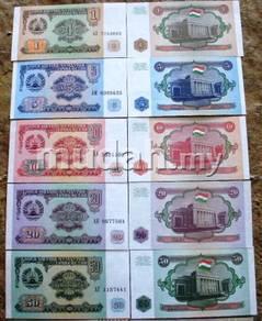 Tajikistan 1 5 10 20 50 rubles 5 pcs unc