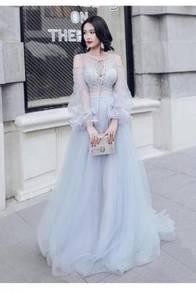 Grey long sleeve wedding prom dress gown RBP0616