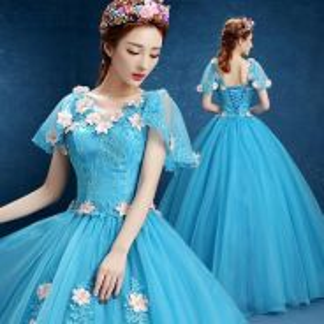 Blue cinderella ball wedding gown dress RB0500