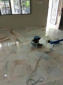 Hall and room marble floor shining