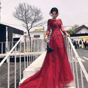 Red long sleeve prom wedding dress gown RBP0862