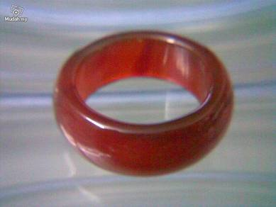 ABRJ-R002 Red Natural Jade Ring - Size 10.75 -10mm