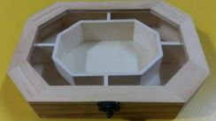 Wooden & glass jewelry box
