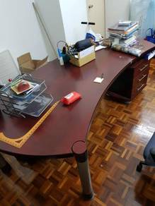 Solid Wood Executive Office Table with Drawers