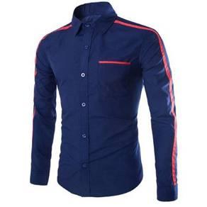 0587 Kemeja Lengan Panjang Biru Blue Formal Shirt