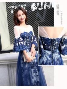 Blue long sleeve wedding prom dress gown RBP0617
