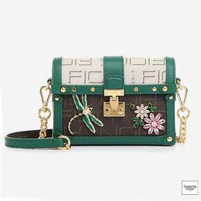 Fion 2020 Coffee Green DragonFly shoulder bag