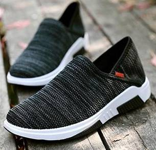 R0269 Black Slip On Loafer Breathable Casual Shoes