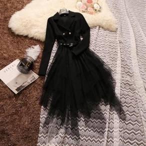 Black white long sleeve dress RBP0627