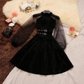 Black velvet long sleeve dinner dress RBP0622