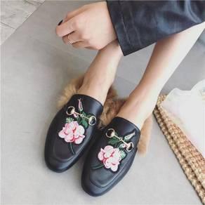 Fur flower black velvet party loafers flat RBH0171