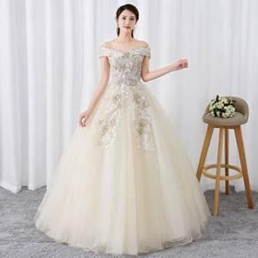 Cream off shoulder wedding bridal gown RB1271