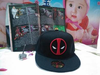 Red black deadpool snapback cap