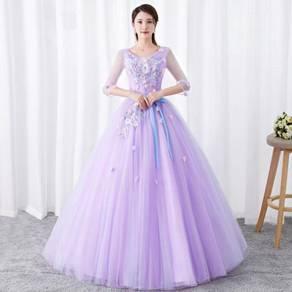 Purple long sleeve wedding bridal gown RB1273