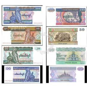 Myanmar 4 pcs in set 10 20 50 100 kyats unc