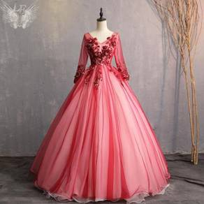 Red long sleeve wedding bridal gown RBMWD0278