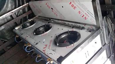 Stainless Steel 3 Station Gas Stove TH