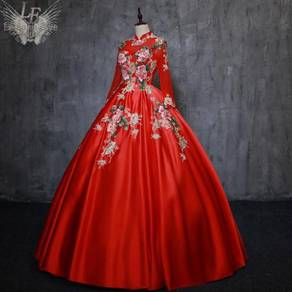 Red long sleeve prom wedding gown RBMWD0280