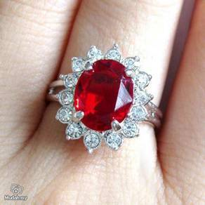 ABRWG-R007 Fancy White Gold Filled Red CZ Ring Sz8
