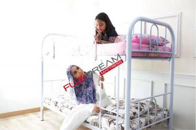 TERHAD : Katil Double Decker Putih Metal Bed Tebal