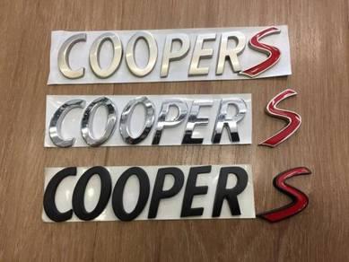 Mini Cooper S Boot Wording Emblem Metal