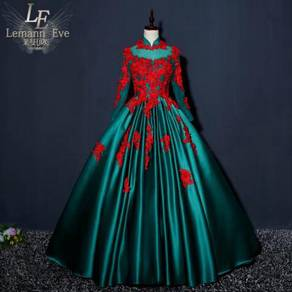 Red green long sleeve wedding gown RBMWD0279