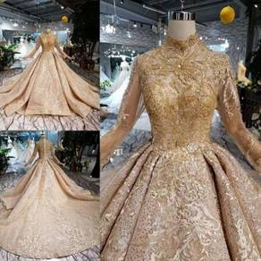Gold long sleeve fishtail wedding gown RB1276