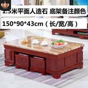 OFFICE WOODEN TEA TABLE Coffee desk meja Side 1