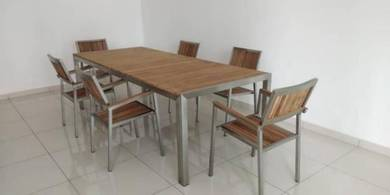 Outdoor Teakwood Long Table Set (Can't get market)