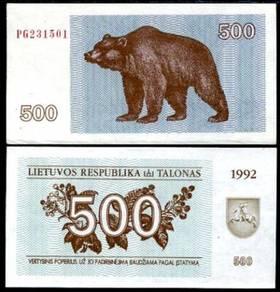 Lithuania 500 talonas 1992 p 44 unc