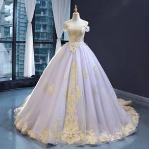Blue off shoulder wedding bridal gown RB1279