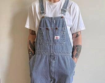 Round House Wabash Stripes hickory denim overalls