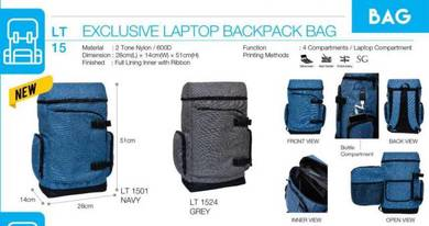 Exclusive Laptop Backpack Bag Navy Blue Grey