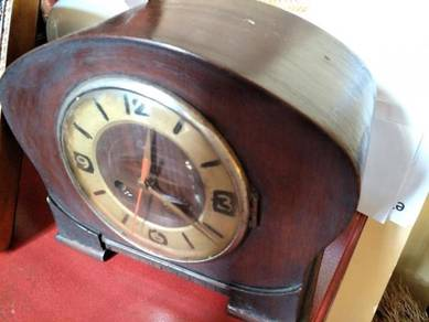 Old antique wooden table clock 1960s