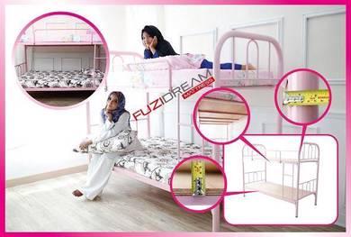 Pink solid metal bed - katil asrama