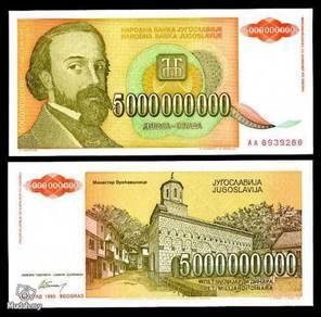 Yugoslavia 5000000000 dinara 1993 p 135 unc