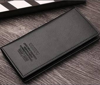 (0107) Black Flip Zip Coin Multicard Long Wallet