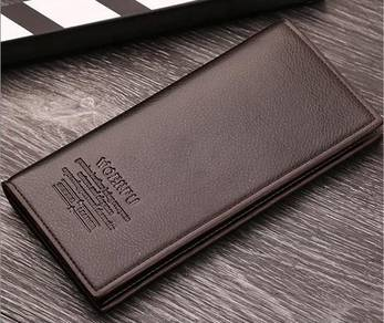 (0107) Brown Flip Zip Coin Multicard Long Wallet