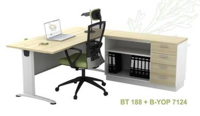 Office Executive Table/Open Shelf+ 4Drawer SET