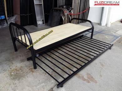 Katil Single alas Plywood dengan PULL OUT BED