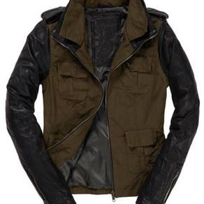 Superdry leather jacket biker
