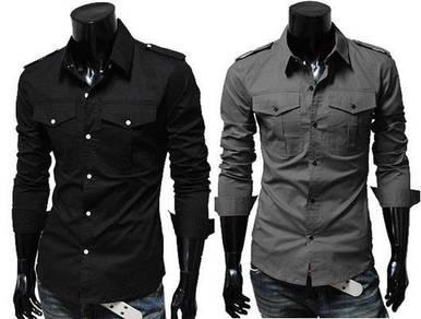 J5115 Black Grey Double Pocket Long Sleeved Shirt
