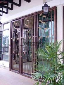 Door Grille Wrought Iron with Powder Coated