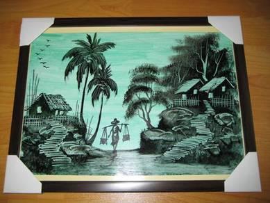 Oil Painting Kampung Life Light Green