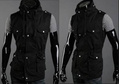 Black Army Military Vest Coat Multi-Pocket Jacket